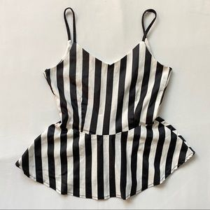 3/20$ Striped Black White Tank Top Peplum